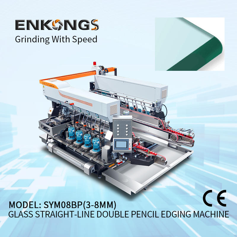 Glass straight-line double round edging machine SYM08