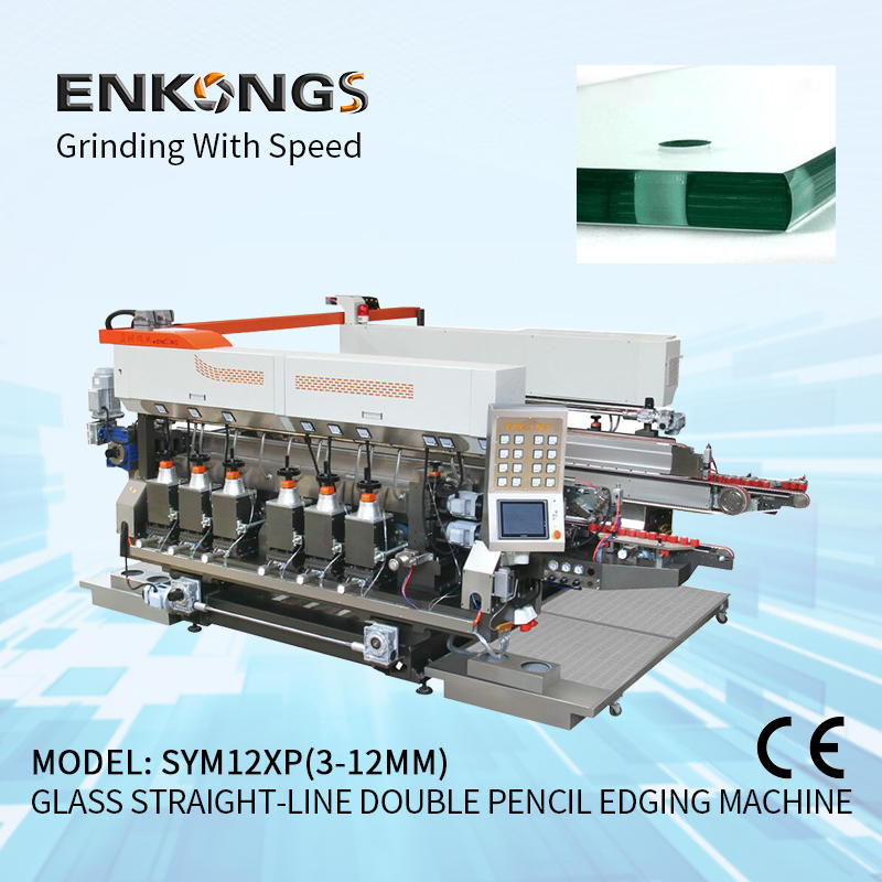 Glass straight-line double round edging machine SM 12/08