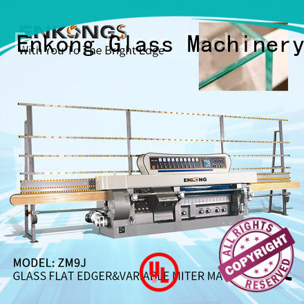 Enkong 5 adjustable spindles glass mitering machine customized for polish